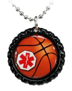 Our New Basketball Medical ID Necklace With a Red Logo