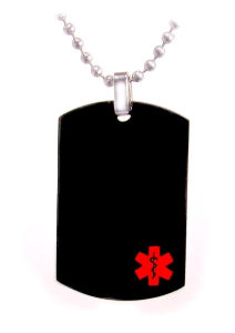 Black Dog Tag Medical ID Necklace