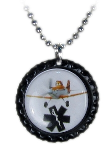 Dusty Airplane Medical ID Necklace on Black Cap