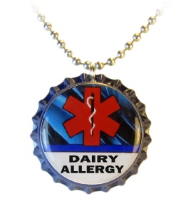 Dairy Allergy Medical ID Necklace with Blue Streaks