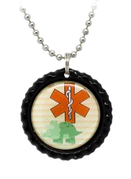 Dinosaur Number 1 Medical ID Necklace