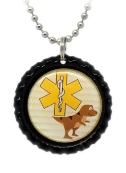Dinosaur Number 3 Medical ID Necklace