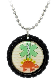 Dinosaur Number 4 Medical ID Necklace