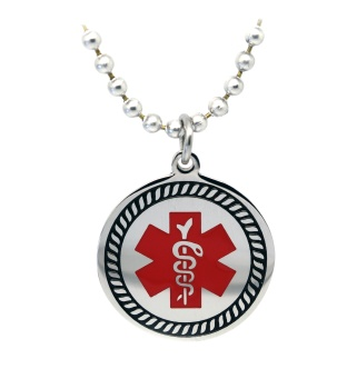 EMS Round Star of Life Medical ID Necklace-166