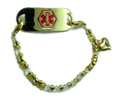 Heart of Gold Medical Alert ID Bracelet