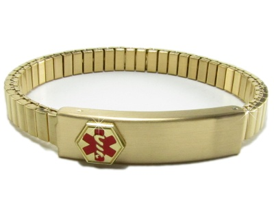 Ladies or Girls Expandable Medical ID Bracelet - Gold Tone
