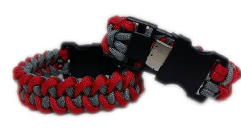 Waterproof USB Medical ID Paracord Bracelet in Red and Grey