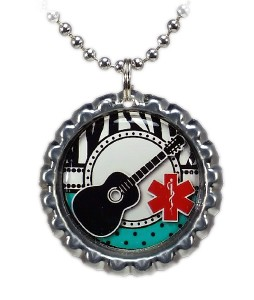Girl's Guitar Medical ID Necklace #1