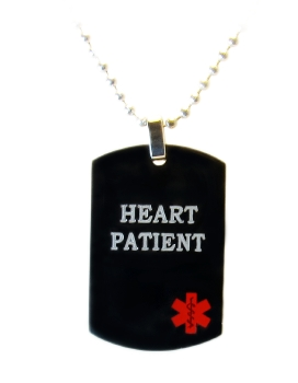 Black Heart Patient Medical ID Necklace