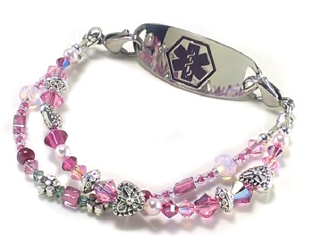 Hearts and Flowers Medical ID Bracelet