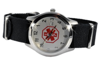 Medical ID Watch with Nylon NATO Styled Band