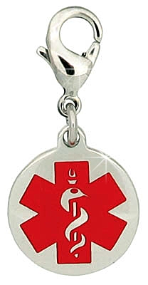 Medical ID Charm for Coats, Shoes, Backpacks and Zippers