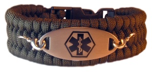 Paracord Medical ID Bracelet in Olive Green