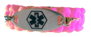 Paracord Medical ID Bracelet in Pink