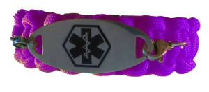 Paracord Medical ID Bracelet in Purple