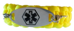 Paracord Medical ID Bracelet in Yellow