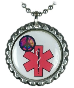 girls pink peace medical ID necklace