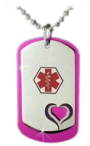Purple Heart Medical ID Necklace