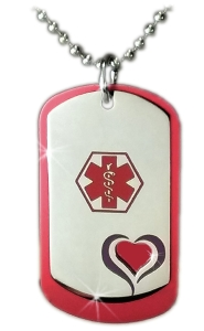 Red Heart Medical ID Necklace