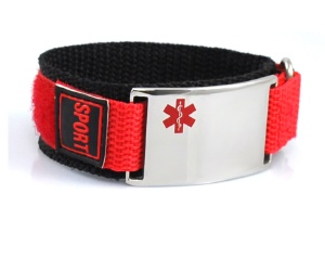 Red-Orange Medical Sports Bracelet for Kids
