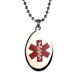Red Oval Star of Life Medical ID Necklace