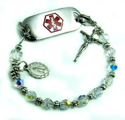 Crystal Rosary Medical ID Bracelet