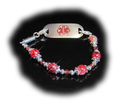 Strawberry Crackle Medical Bracelet