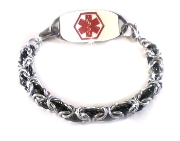 Byzantine Medical ID Bracelet in Silver and Black