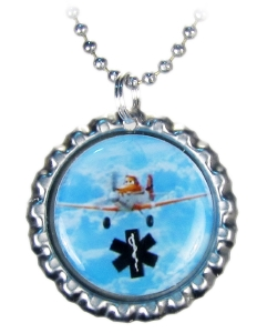 Dusty Airplane Medical ID Necklace on Silver Bottle Cap
