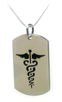 Black Caduceus Medical ID Necklace and Sterling Silver Snake Chain