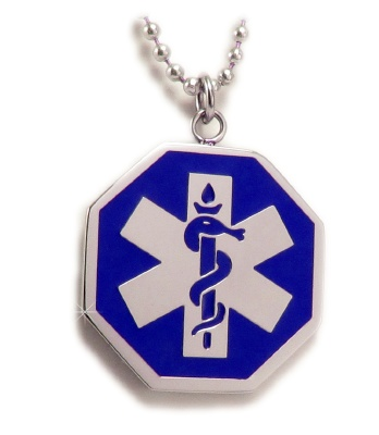 Blue EMS Star of Life Medical Alert ID Necklace