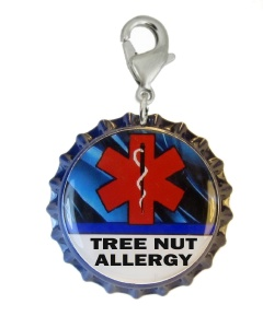 Tree Nut Allergy Medical ID Charm with Blue Streaks