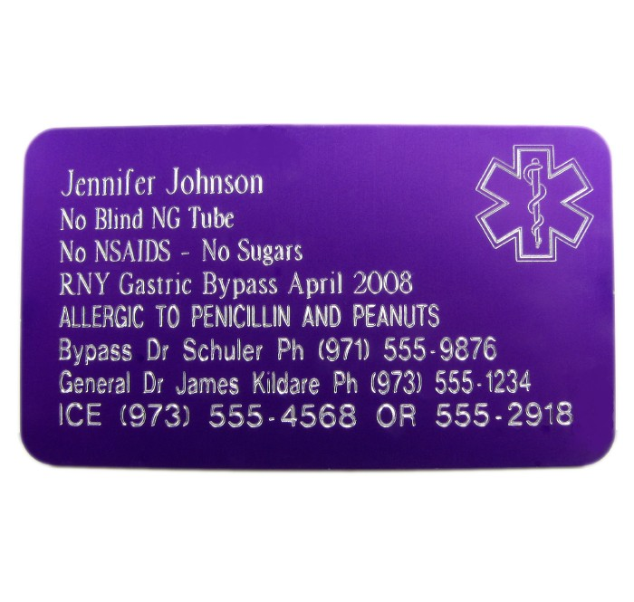 Premium Star Of Life Medical Id Wallet Card Engraved Oo
