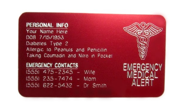 Medical ID Wallet Cards
