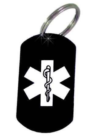 Medical ID Black Laser Key Ring