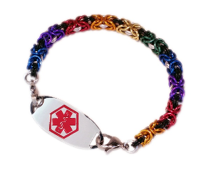 Byzantine Rainbow With Black Medical Bracelet