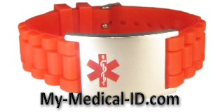 Red Rubber Medical ID Bracelet
